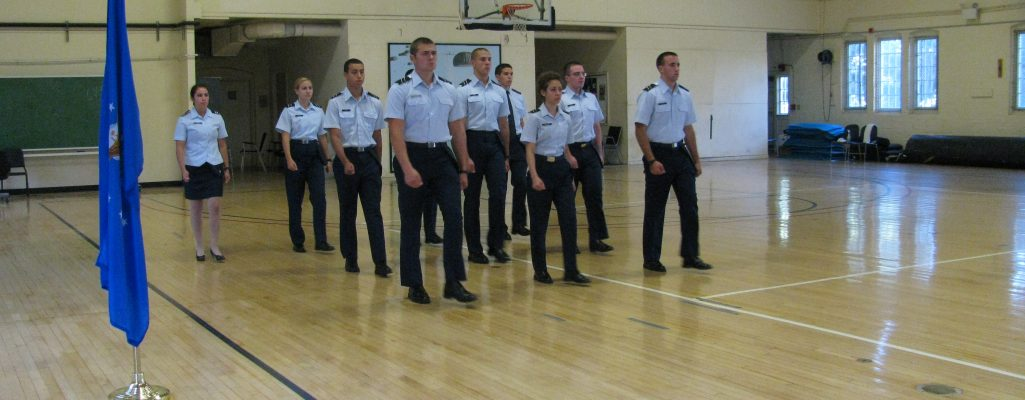 UConn cadets practicing marching