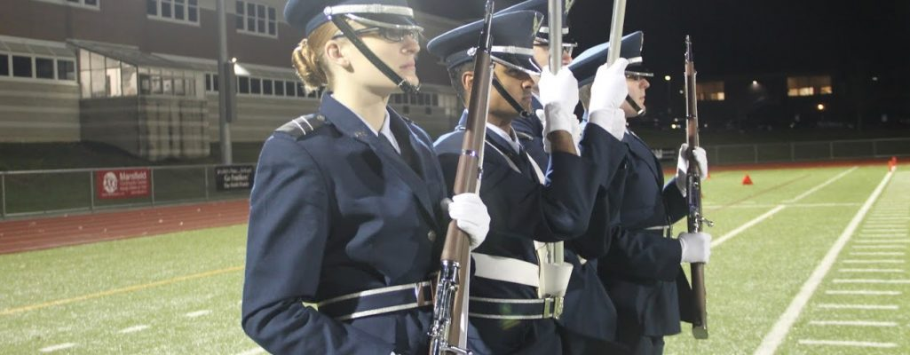 UConn cadets on drill team at a sporting event
